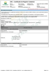 CRC – Certificado de Registro Cadastral Petrobras